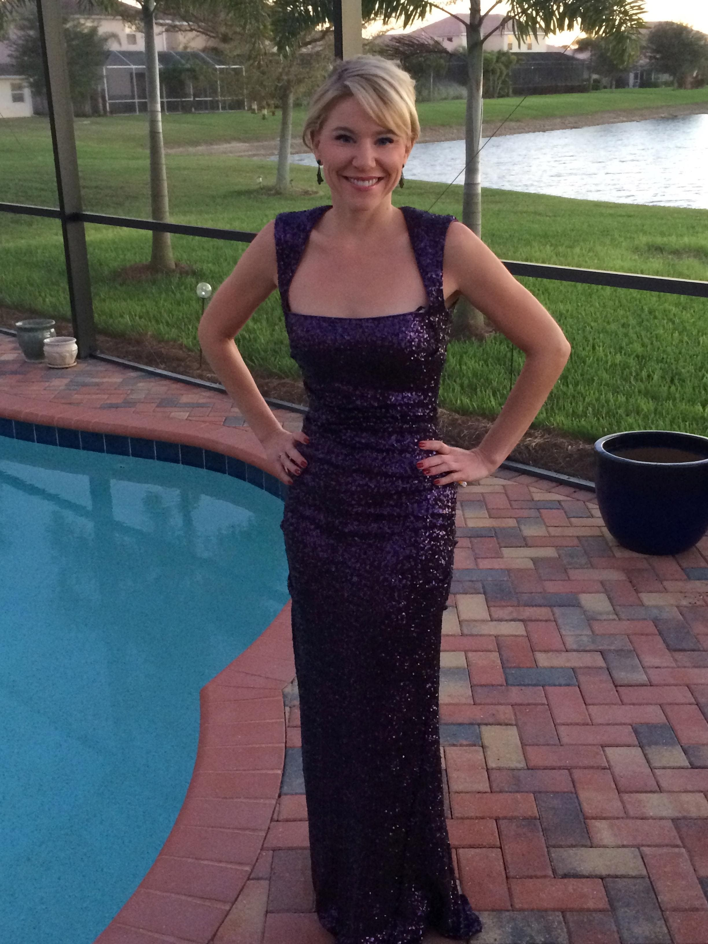 69b4a3dddf Sequin Tyrian Purple Gown From Nicole Miller 250822