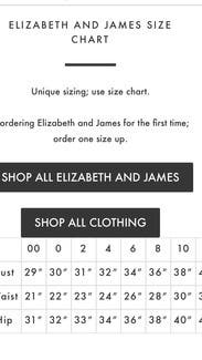 Elizabeth and james jeans size chart image of jeans